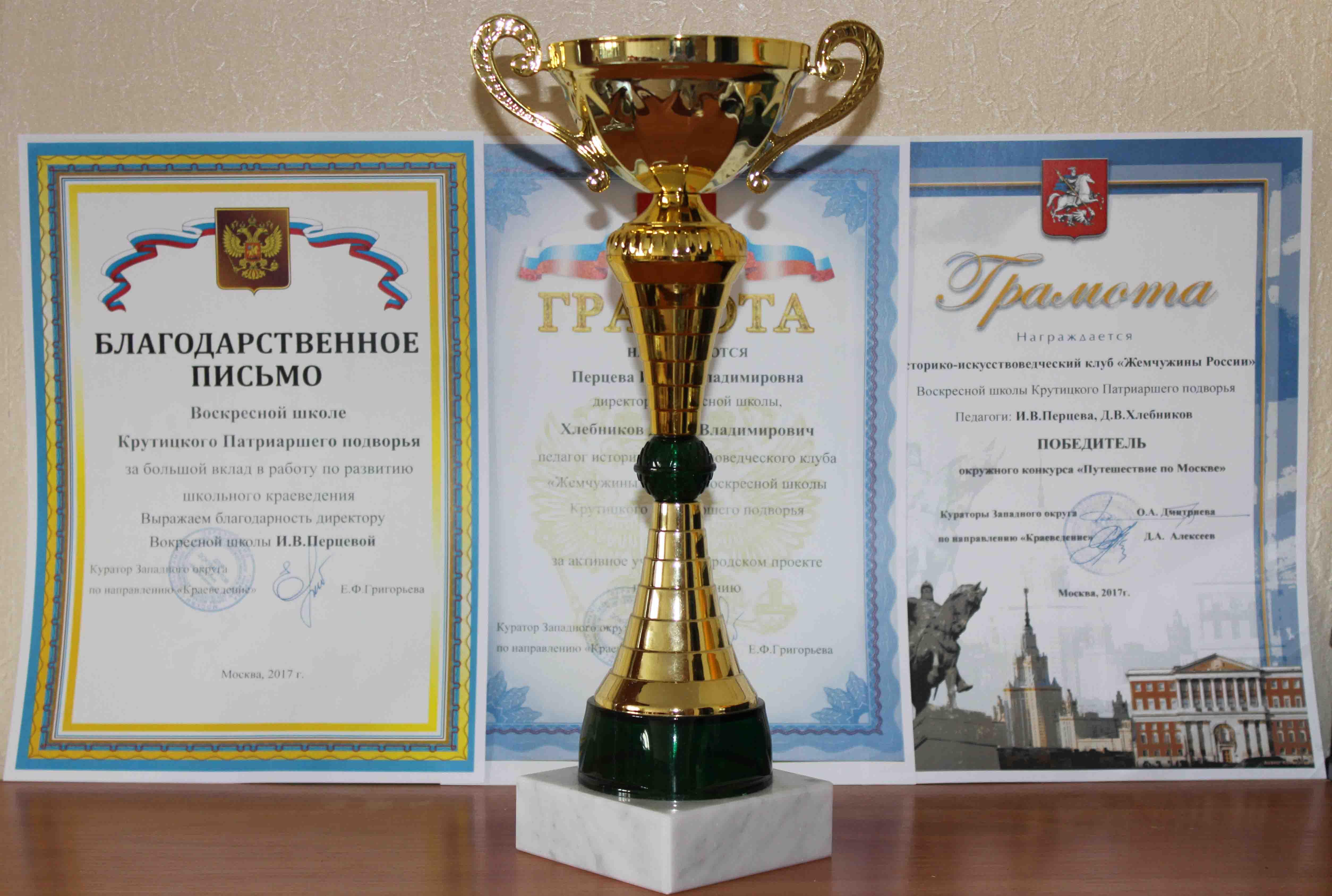 Победа на конкурсе «Путешествие по Москве»